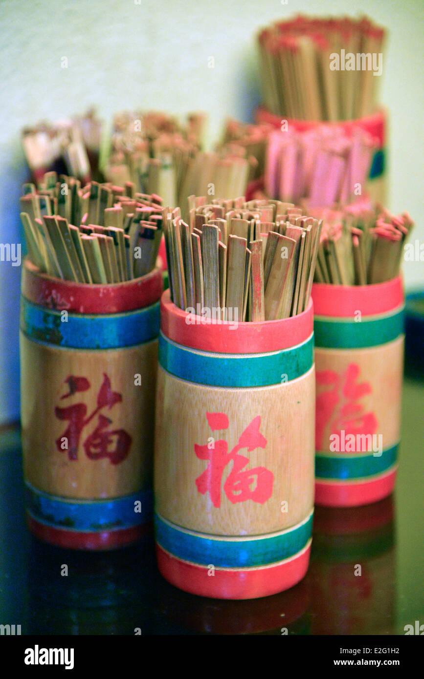 China Hong Kong Lantau Island Ngong Ping Monastery of Po Lin sticks of fortune - Stock Image
