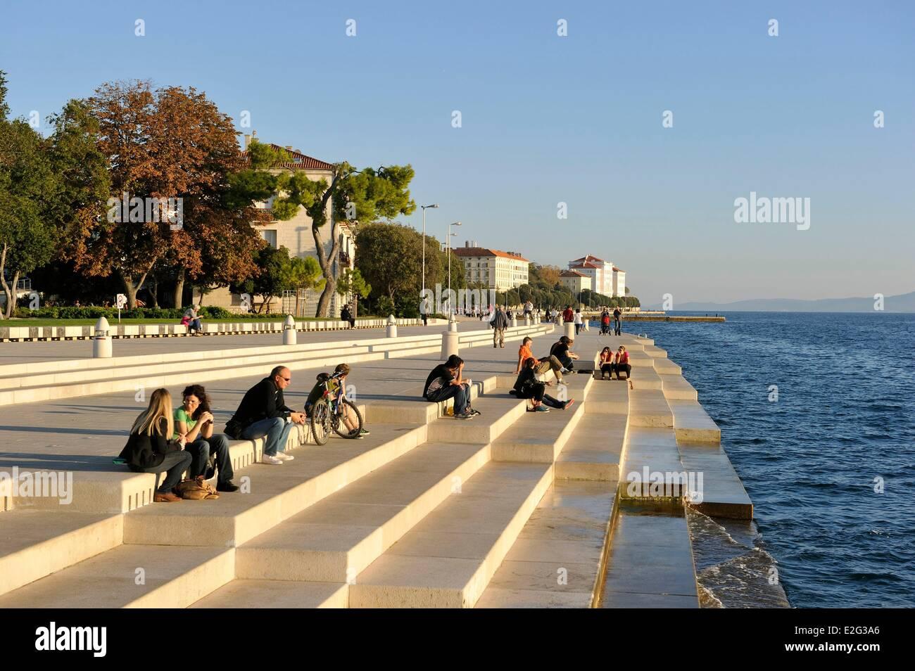 Croatia Dalmatia Dalmatian coast Zadar Sea organ architectural musical instrument created by Nikola Basic - Stock Image