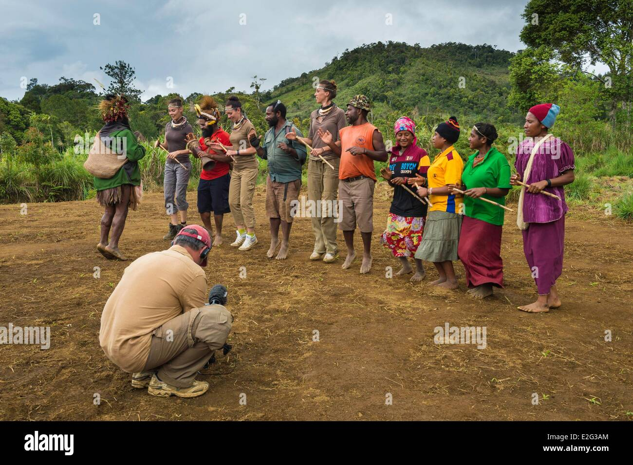 Papua New Guinea Highands Hela province Tari region Hulis tribe shooting in Papua New Guinea with Julie Bruyere - Stock Image