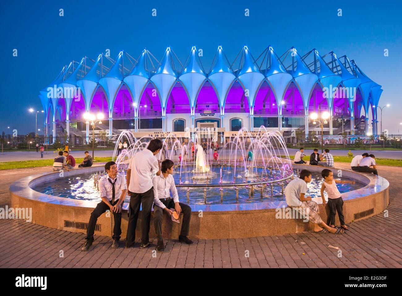 Uzbekistan Silk road Tashkent the new Bunyodkor stadium opened in august 2012 and build by GMP Architekten Stock Photo