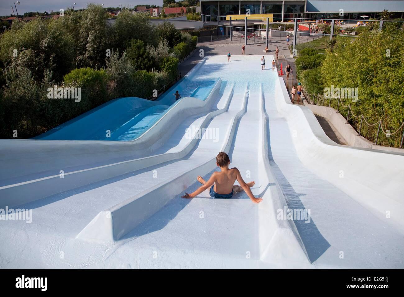 Captivating France Pas De Calais Calais Child Sliding Down A Slide At The Pool ICEO    Stock