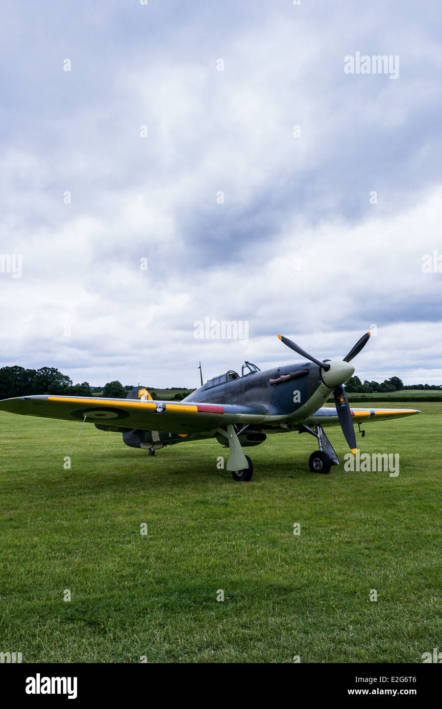A restored Hawker Sea Hurricane 1b, owned by the Shuttleworth Collection at Shuttleworth Aerodrome - Stock Image