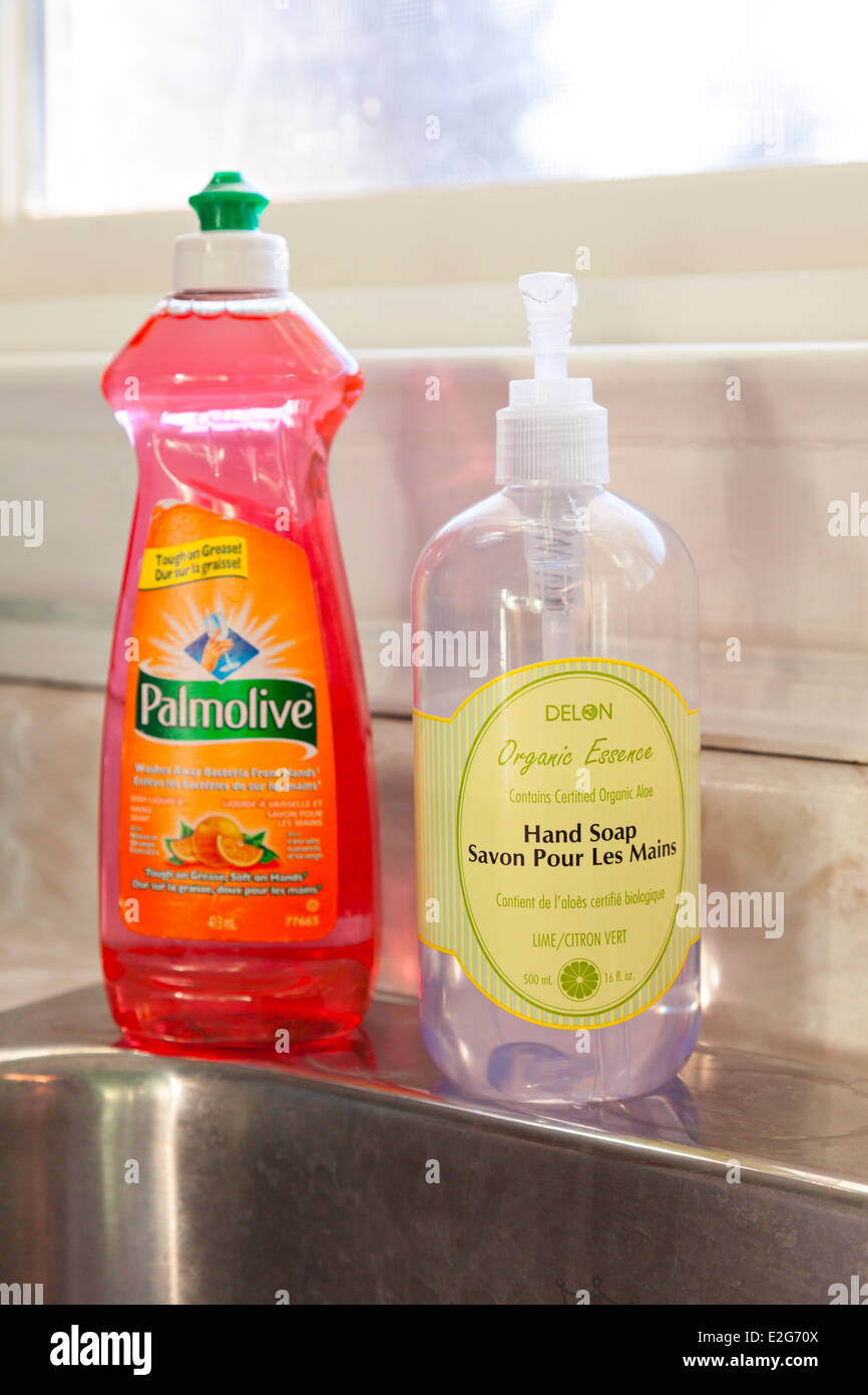 Dish soap and hand soap sitting on the counter in a kitchen. Ontario ...