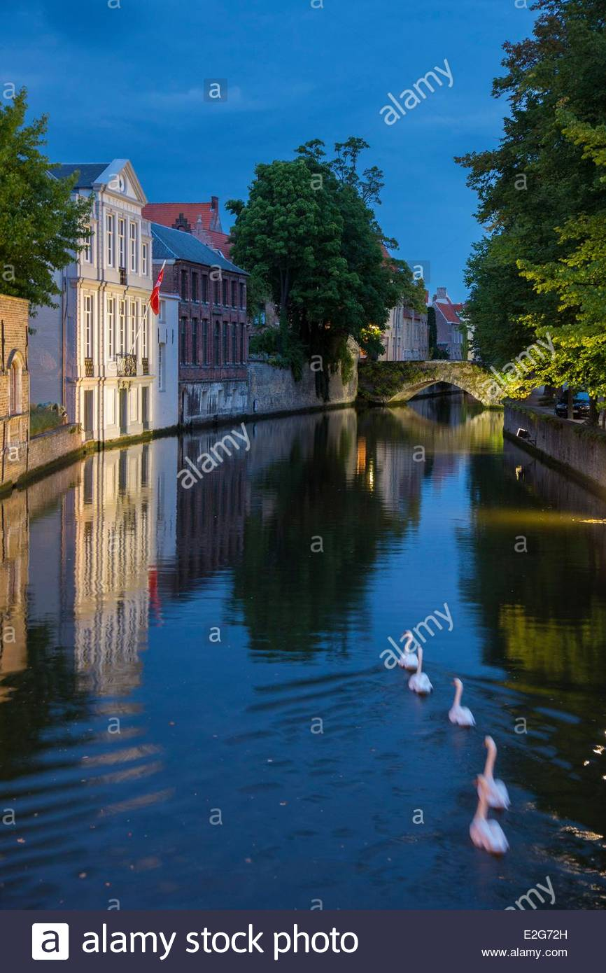 Belgium Western Flanders Bruges historical centre listed as World Heritage by UNESCO along the Groenerei canal - Stock Image