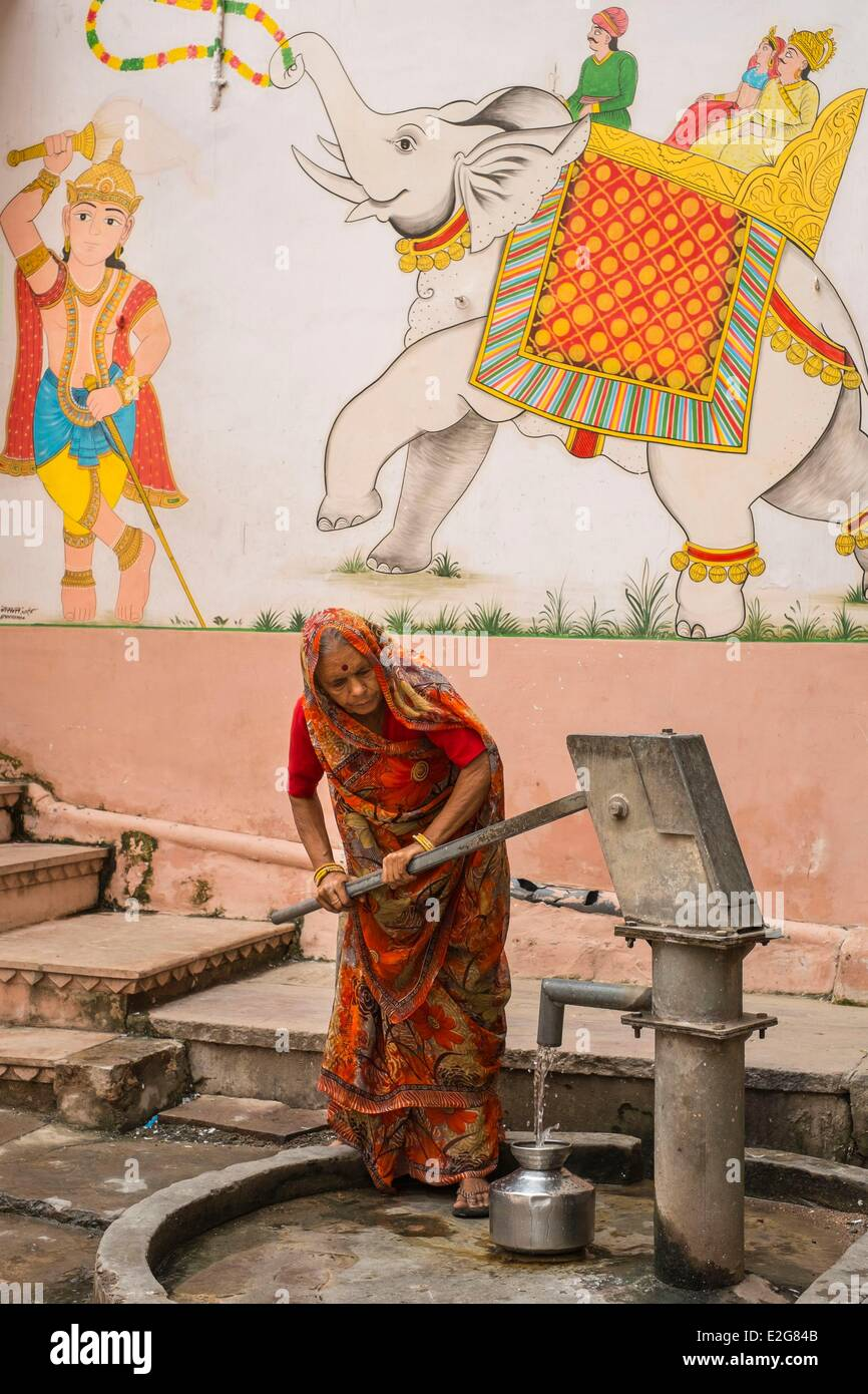 India Rajasthan State Bundi water pomp in the streets of the town - Stock Image