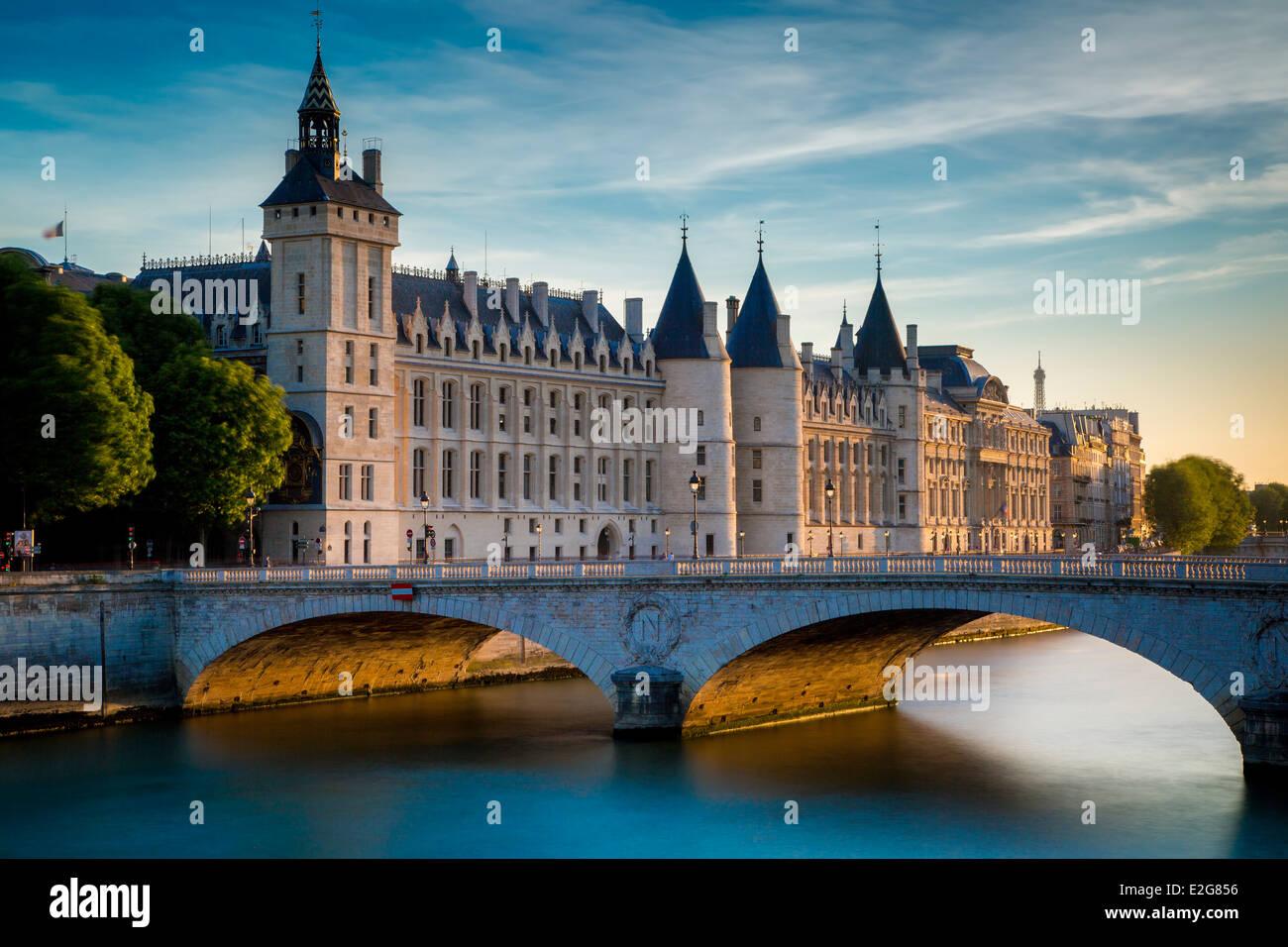 The Conciergerie, Pont au Change and River Seine, Paris France Stock Photo