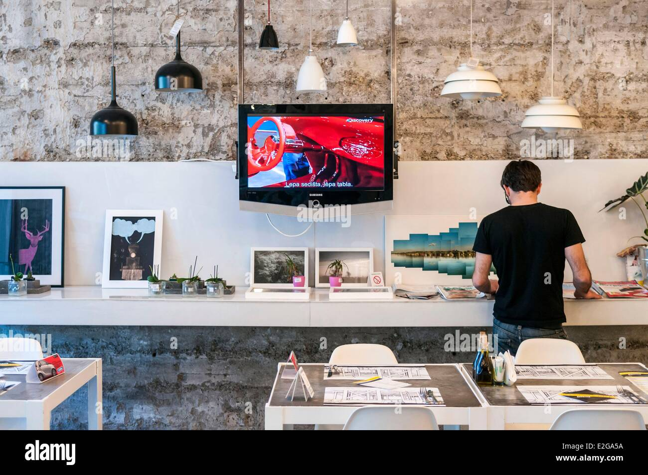 Serbia Belgrade downtown Supermarket concept store and restaurant - Stock Image