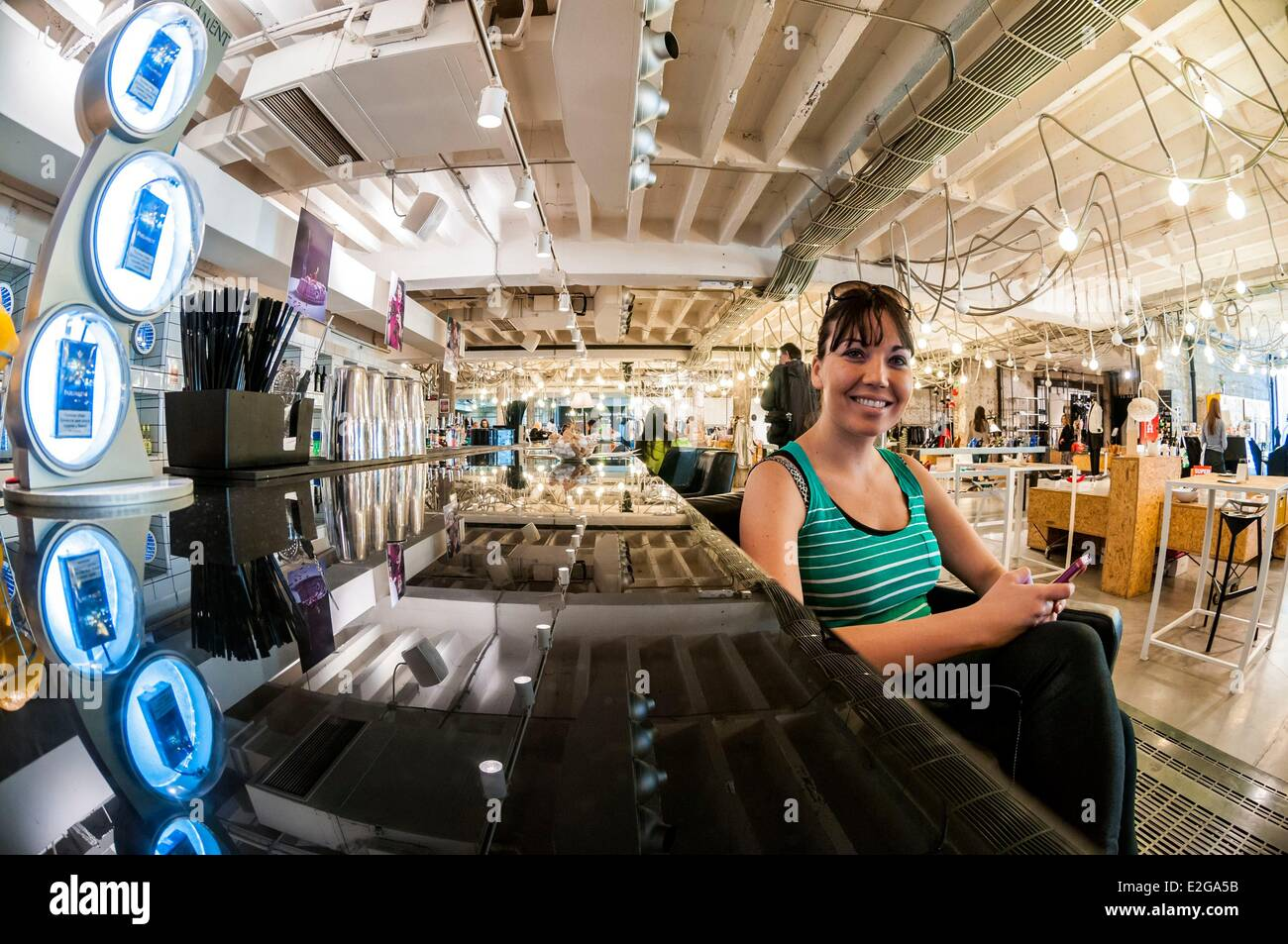 Serbia Belgrade downtown customer inside Supermarket concept store and restaurant - Stock Image