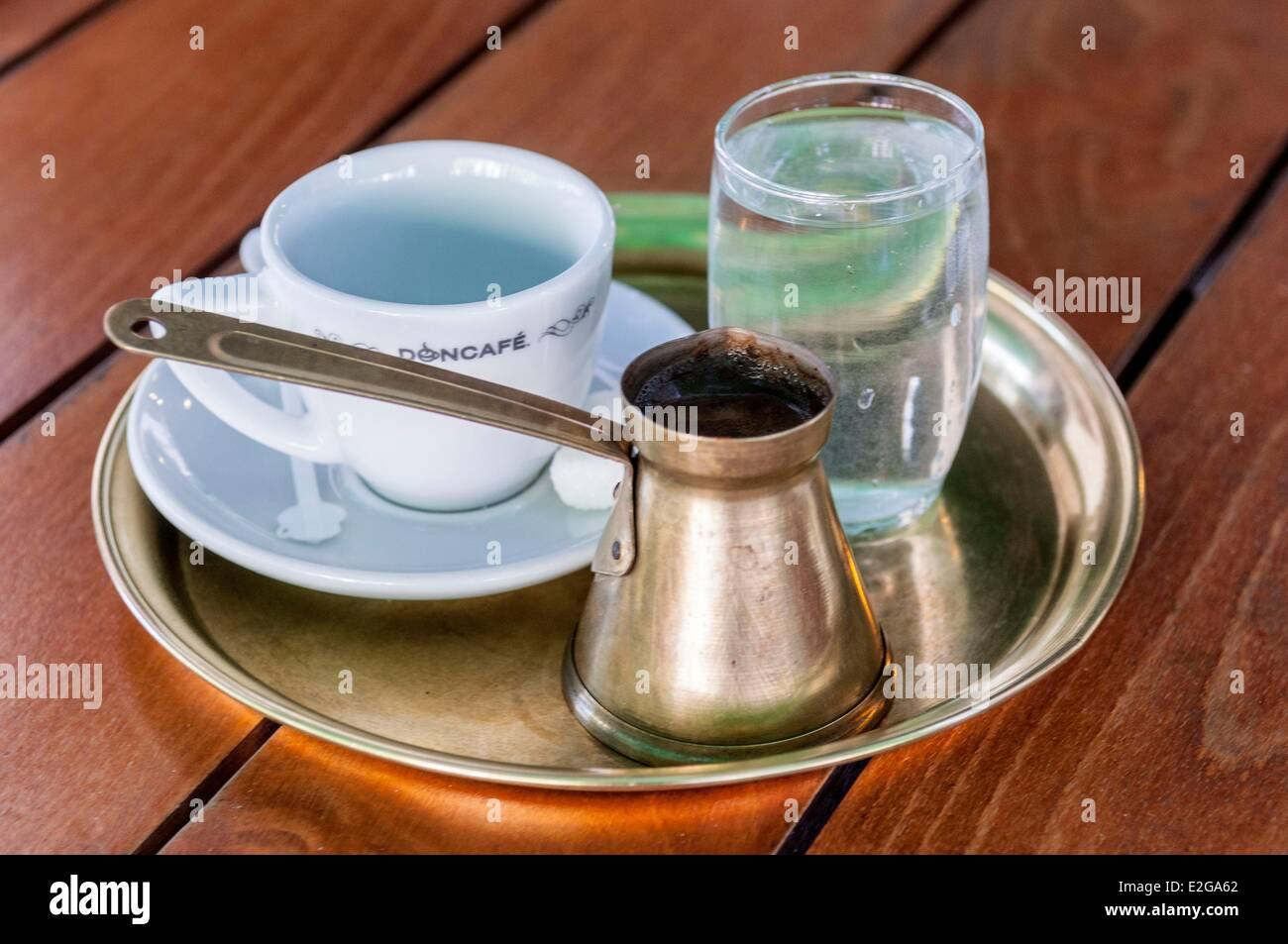 Serbia Belgrade Turkich coffee typical of the old bars in downtown - Stock Image