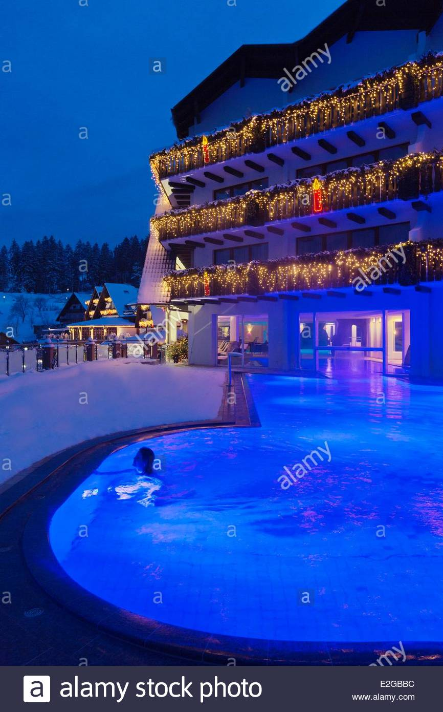 Germany Baden Wurrtemberg Black Forest Bad Peterstal Griesbach Hotel  Dollenberg Night View Of The Hotel And The Pool