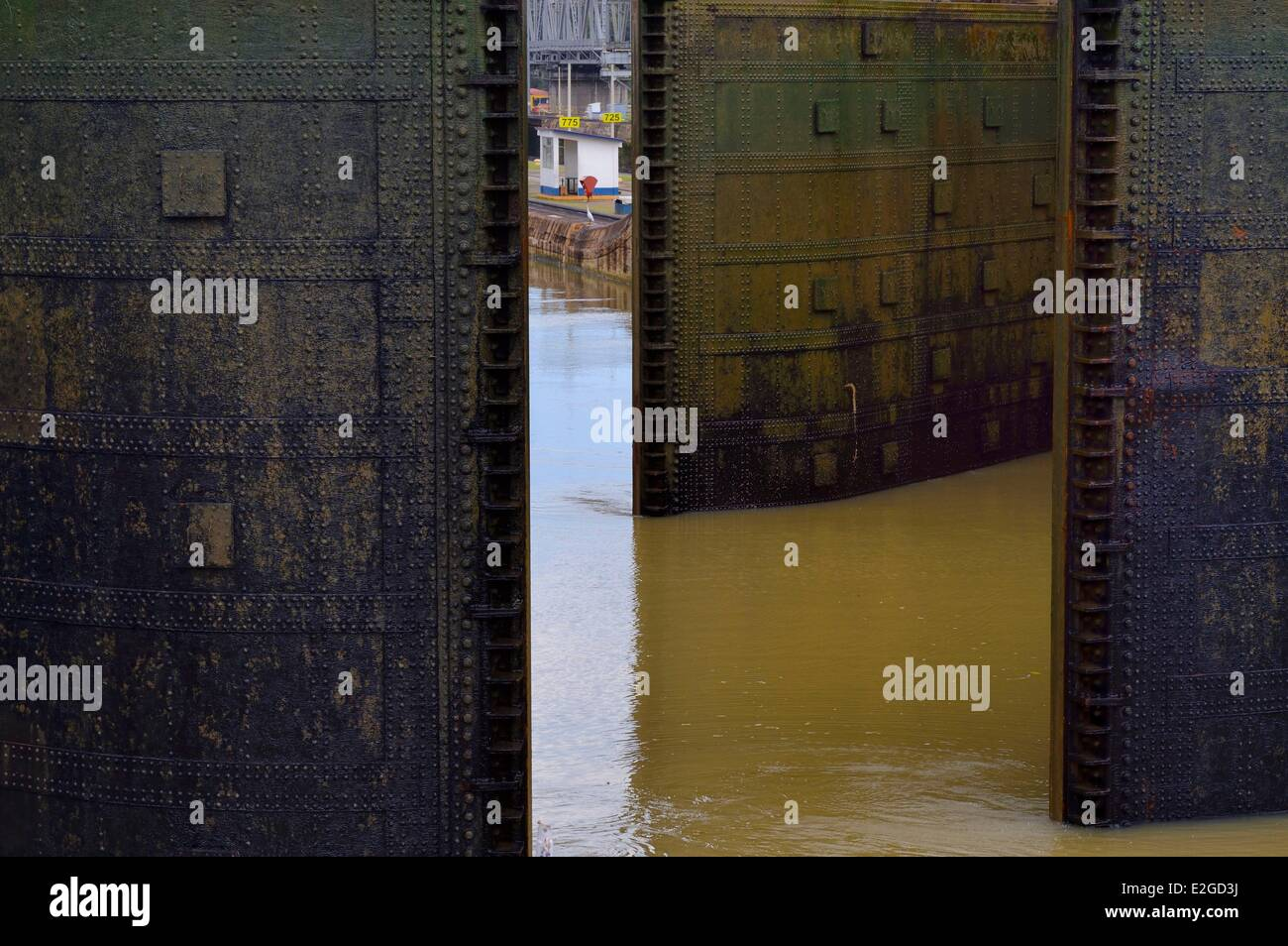 Panama Panama Canal Miraflores locks lock gates at both ends of upper chamber are doubled for safety - Stock Image