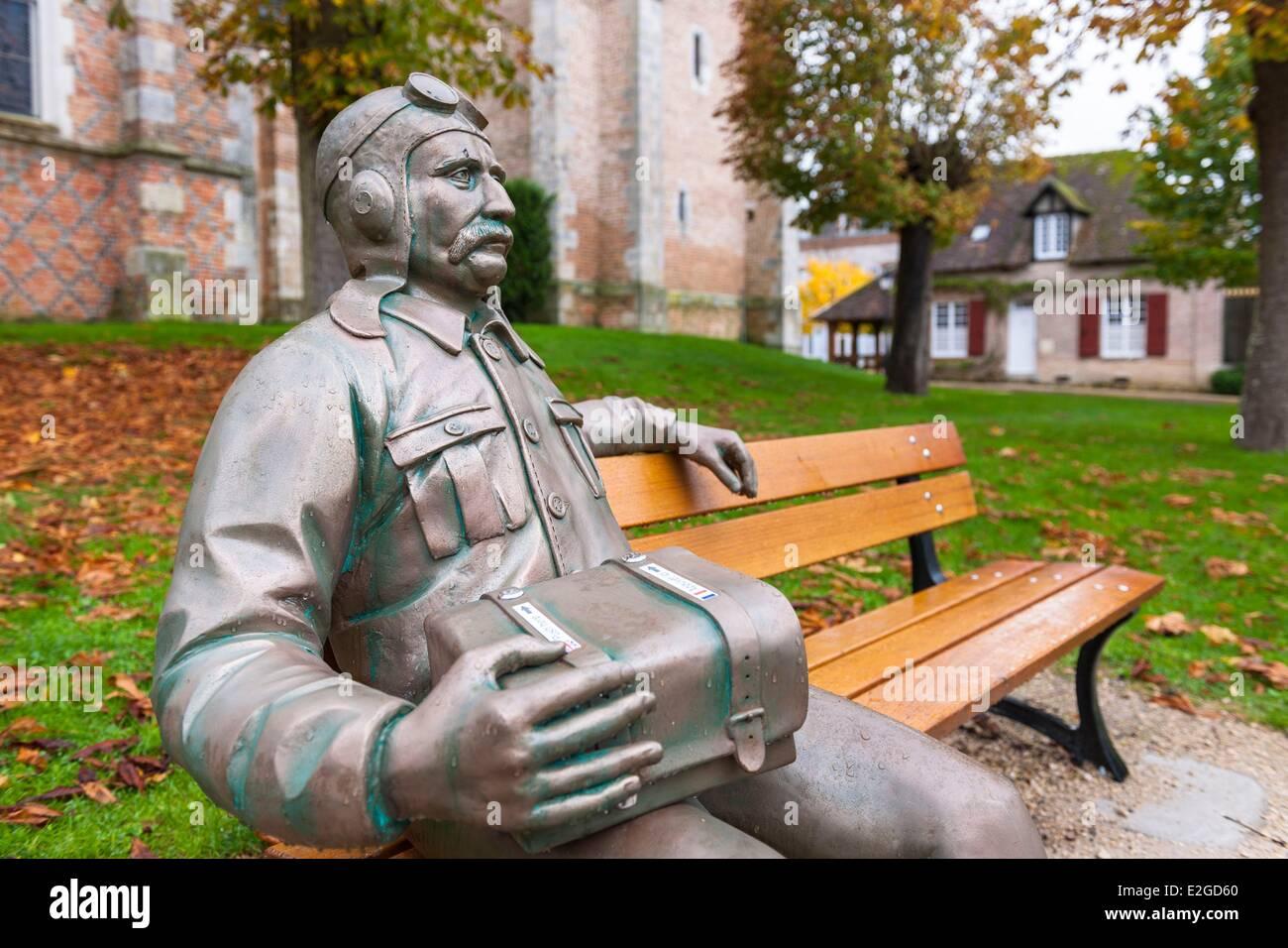 France Loir et Cher Sologne region Chaumont sur Tharonne sculpture by Ducaroy Grange representing the famous aviator Louis Stock Photo