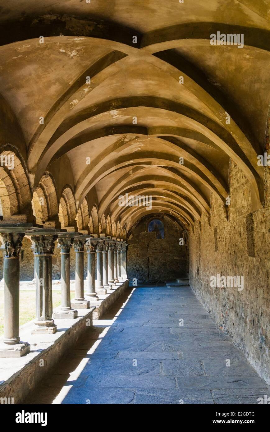 Italy Aosta Valley Aosta Cloister (Chiostro romanico 12th century) Sant'Orso or Saint-Ours collegiate church - Stock Image