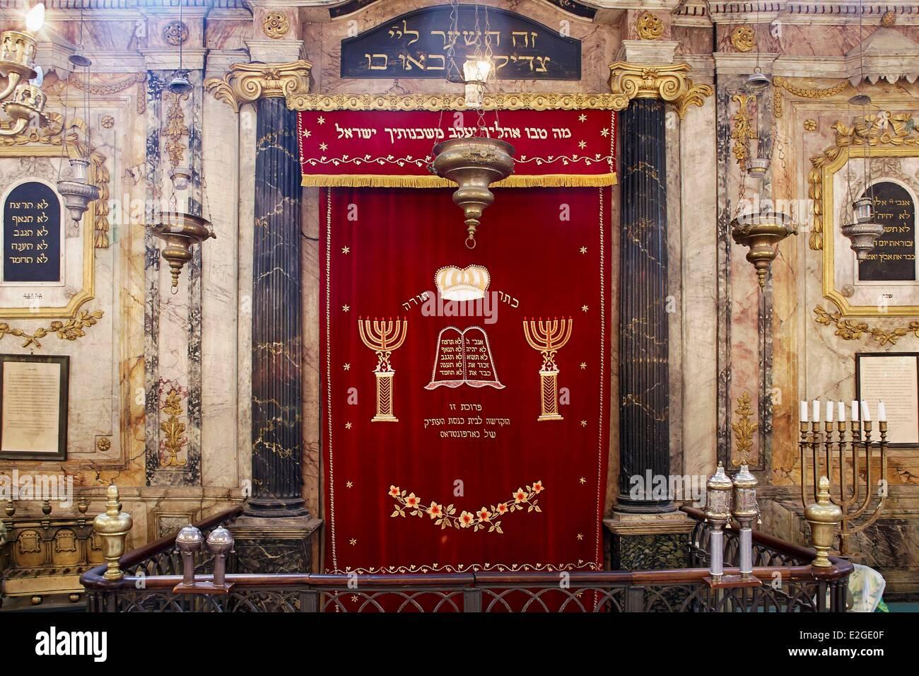 France Vaucluse CaRM-Eentras Synagogue prayer hall - Stock Image