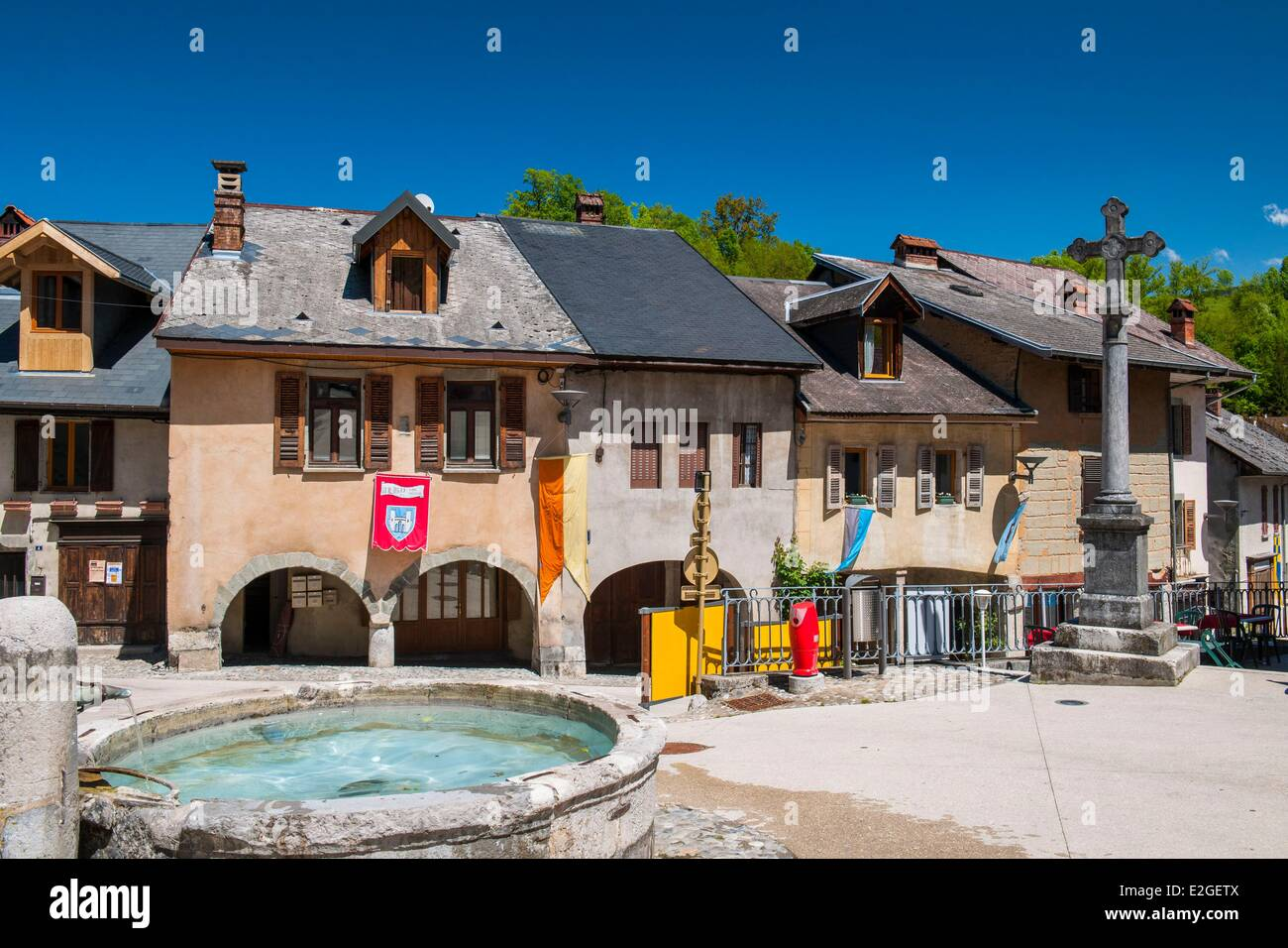 France Haute Savoie Alby sur Cheran is well known for its old town with its arcaded houses - Stock Image