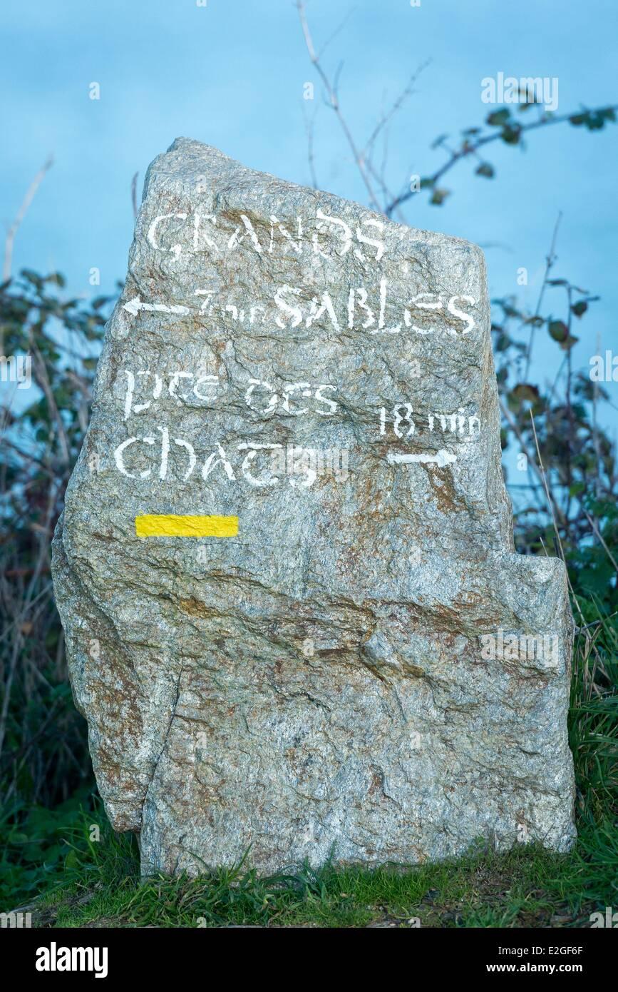 France Morbihan Groix island rock indicator of beach of Grands Sables - Stock Image