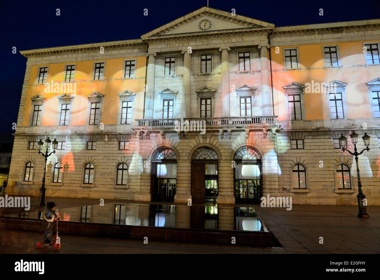 France Haute Savoie Annecy projection and Christmas lights - Stock Image