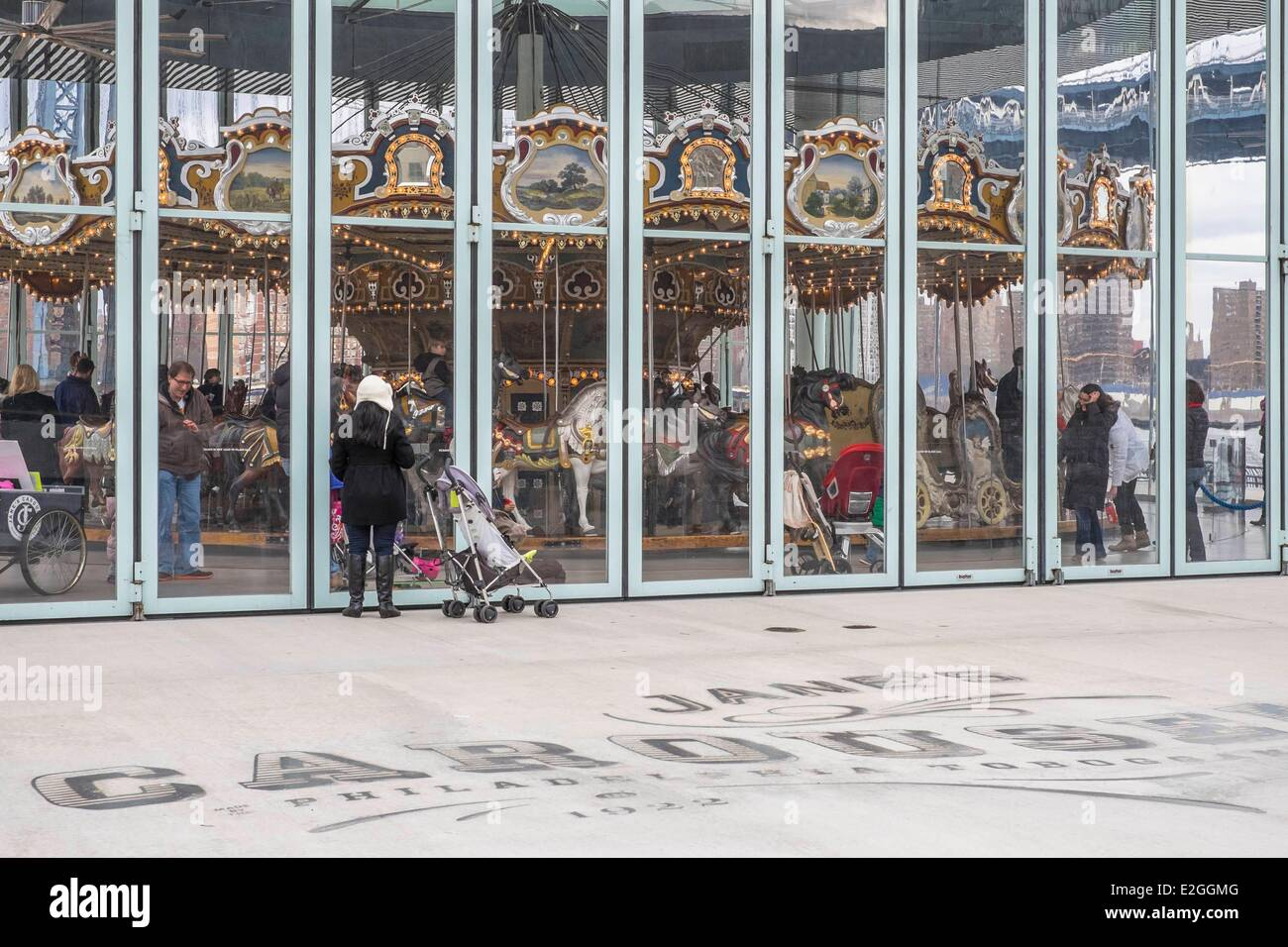 United States New York Brooklyn Dumbo district Jane's Carousel - Stock Image