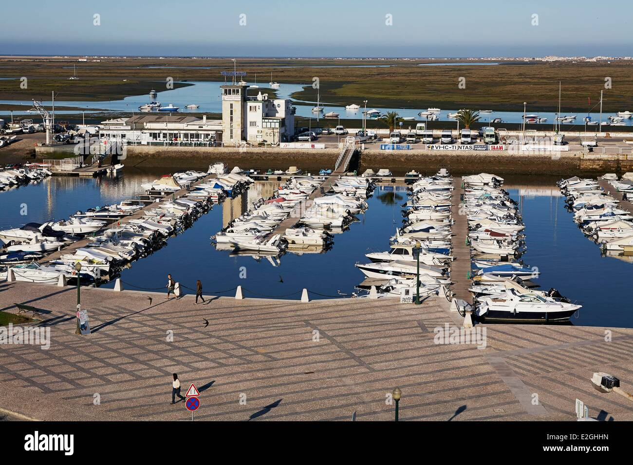 Portugal Algarve Faro Marina Natural Park of Ria Formosa and Gulf of Cadiz in background - Stock Image