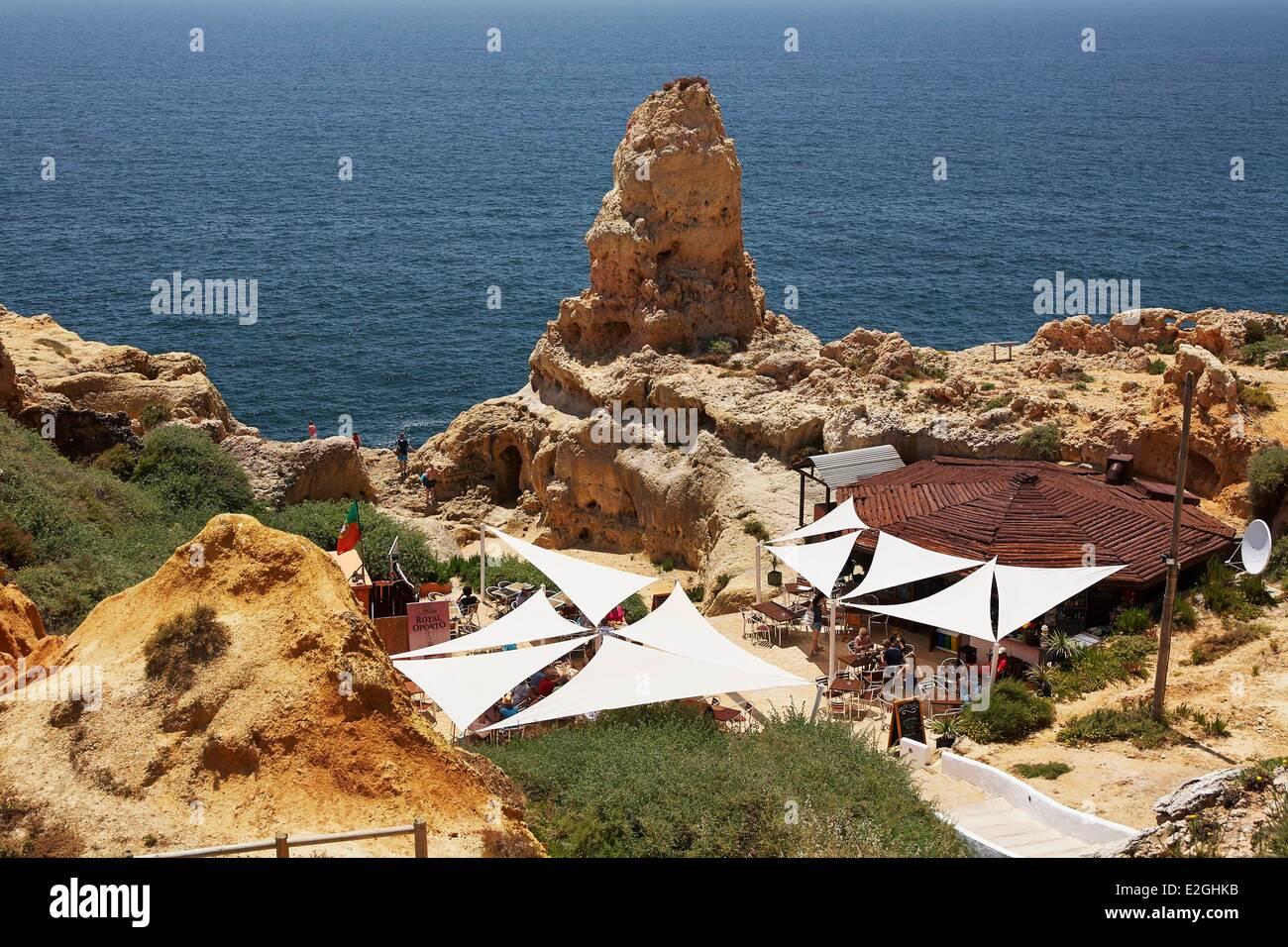 Portugal Algarve Carvoeiro Restaurant at edge of cliff Stock Photo