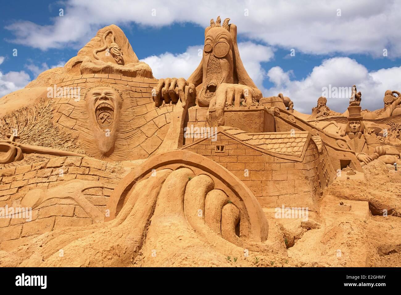 Portugal Algarve Pera International Sand Sculpture Festival FIESA (Festival Internacional de Escultura em Areia) - Stock Image