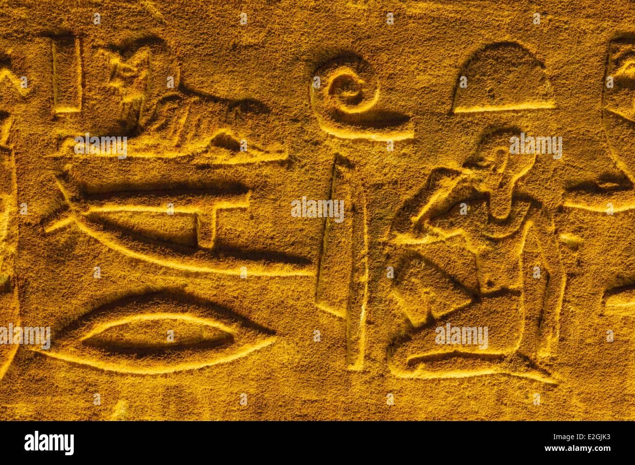 Egypt Upper Egypt Edfu Edfu Edfu Temple or Temple of Horus temple or Noaos hieroglyphs and wall engravings Stock Photo