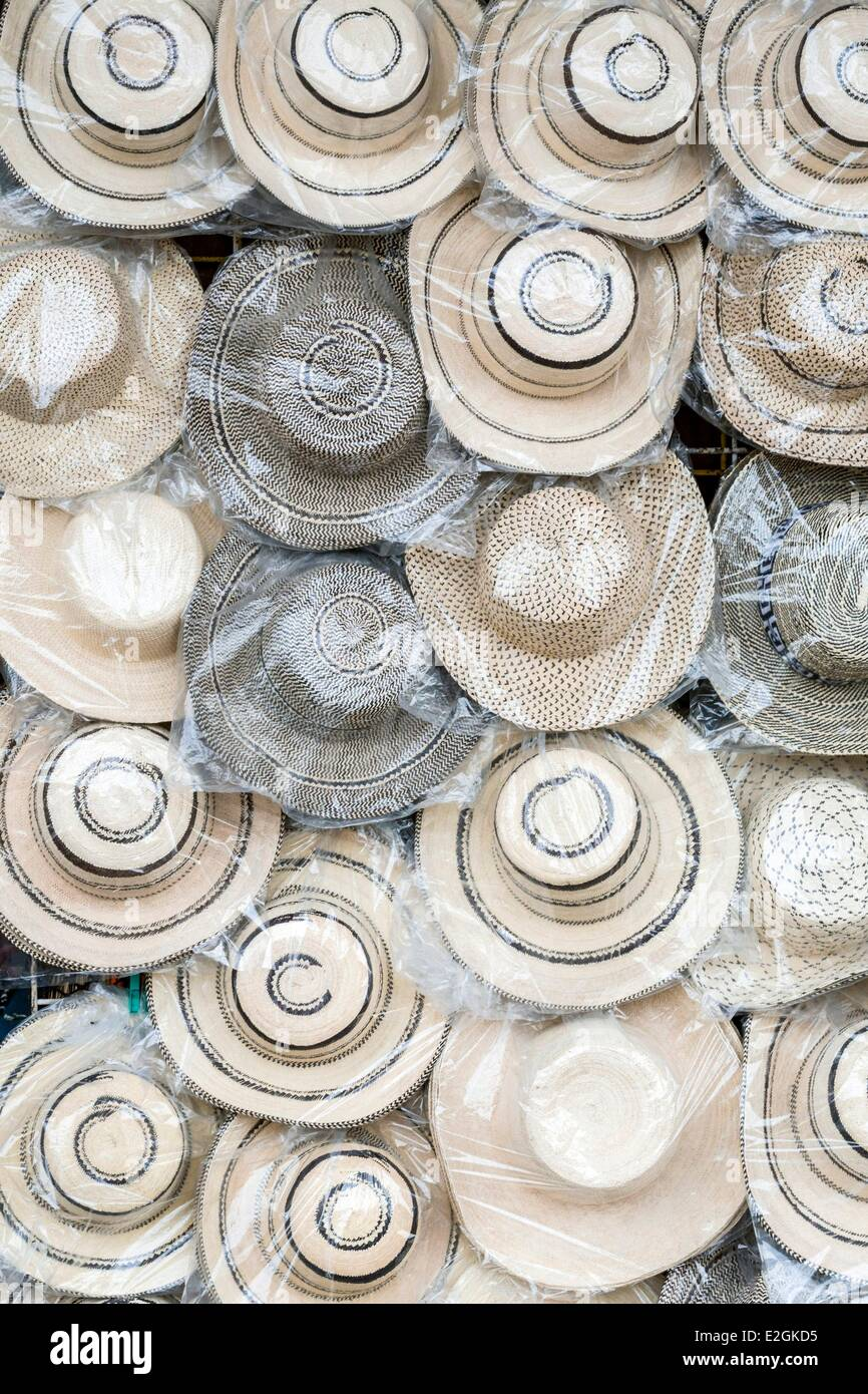 Panama Cocle province Anton Valley market stall Panamanian hats - Stock Image