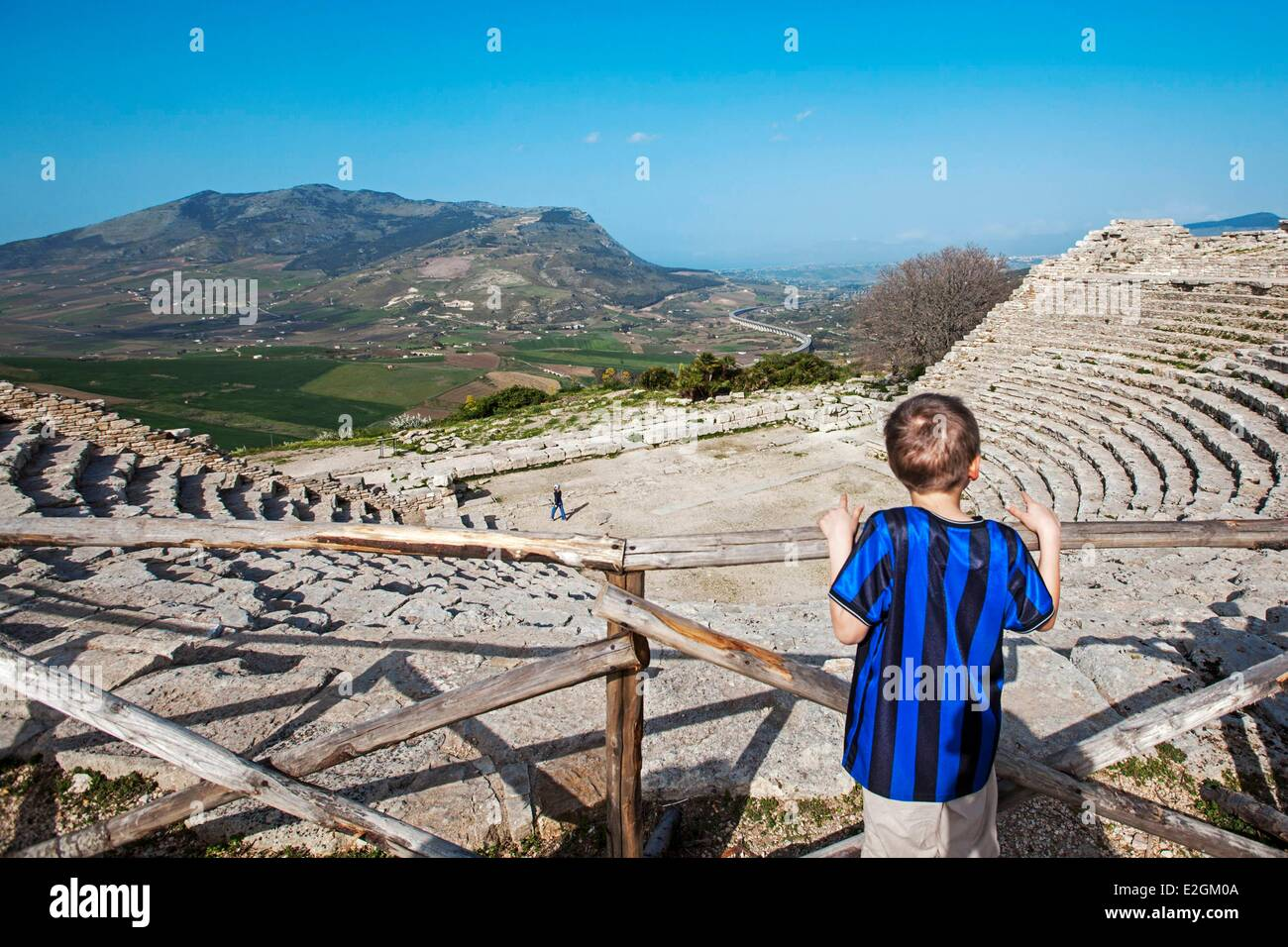 Italy Sicily Segesta archeological site Antic theatre built in 3th century BC - Stock Image
