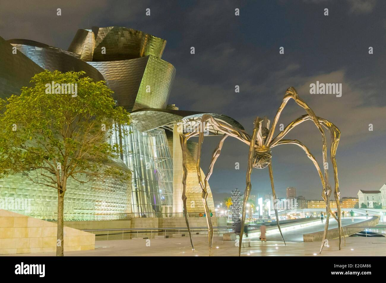 Spain Basque Country Region Vizcaya Province Bilbao Guggenheim Museum by architect Frank Gehry and spider shaped - Stock Image