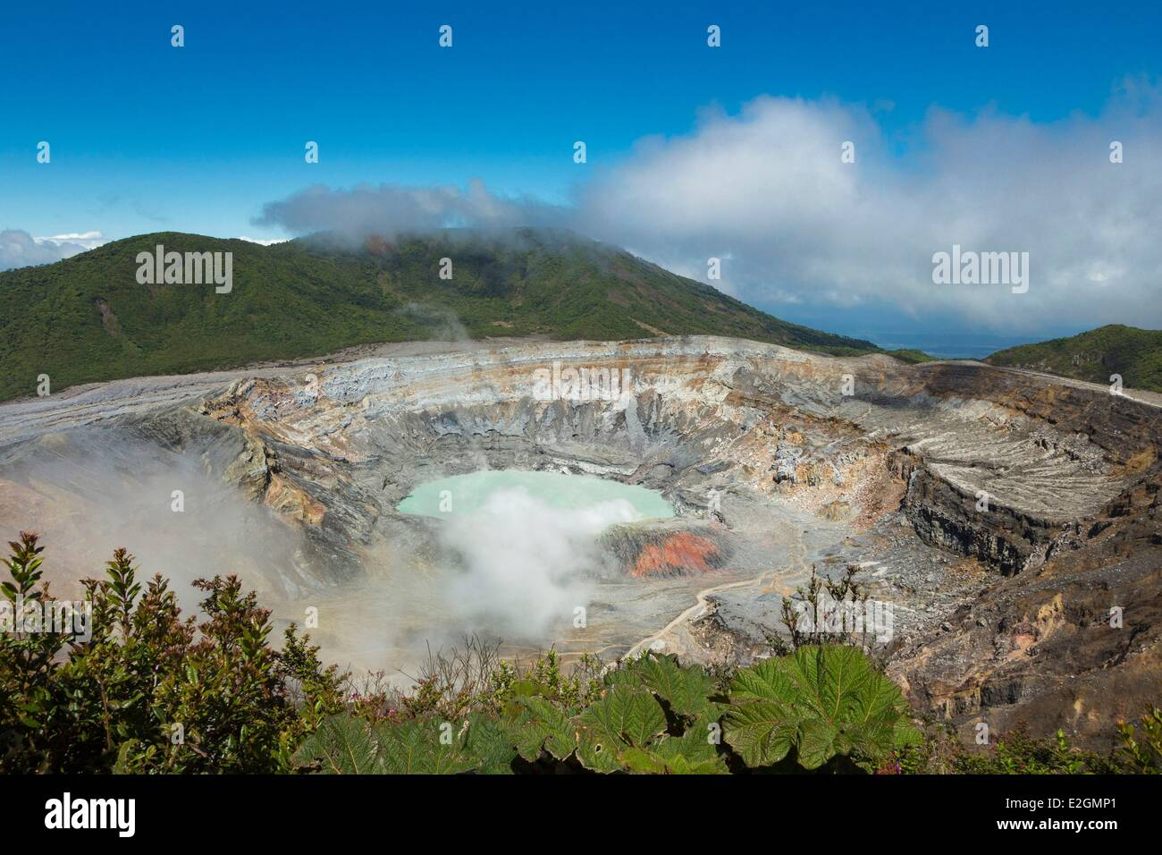 Costa Rica Alajuela Volcan Poas National Park panoramic view over crater lake - Stock Image