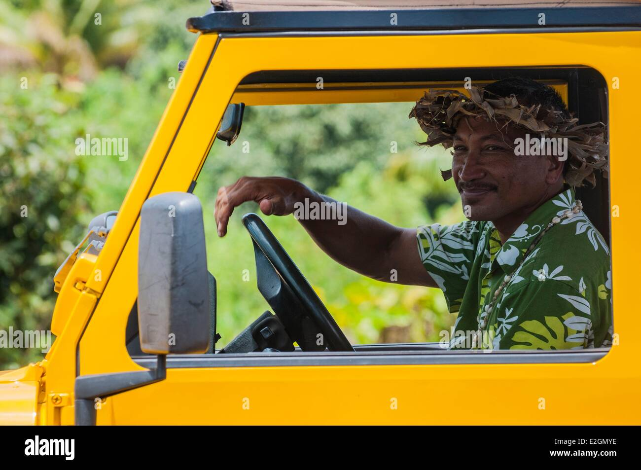Cook Islands Aitutaki Island resident of island - Stock Image