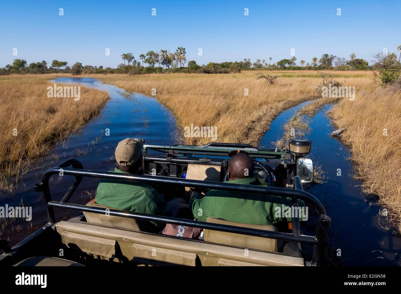 Botswana North West District Okavango Delta Abu Lodge crossing of swamps with 4x4 - Stock Image
