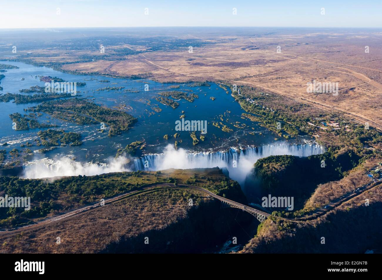 Zimbabwe Matabeleland North Province Victoria Falls or Mosi Oa Tunya listed as World heritage by UNESCO helicopter - Stock Image