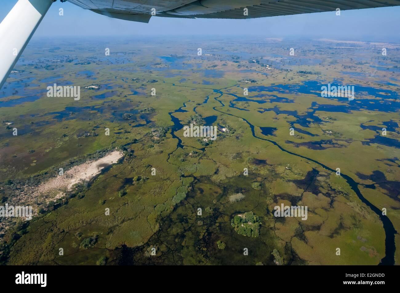 Botswana North West District Okavango Delta Linyanti Reserve flight between Abu Lodge and Savuti Camp - Stock Image