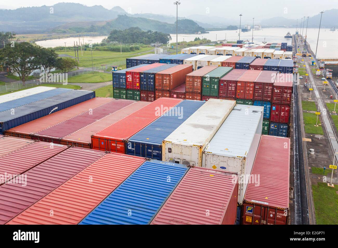Panama Panama Canal Miraflores locks completed in 1913 boat CGM CGM Alcazar built in 2007 and with a capacity of - Stock Image