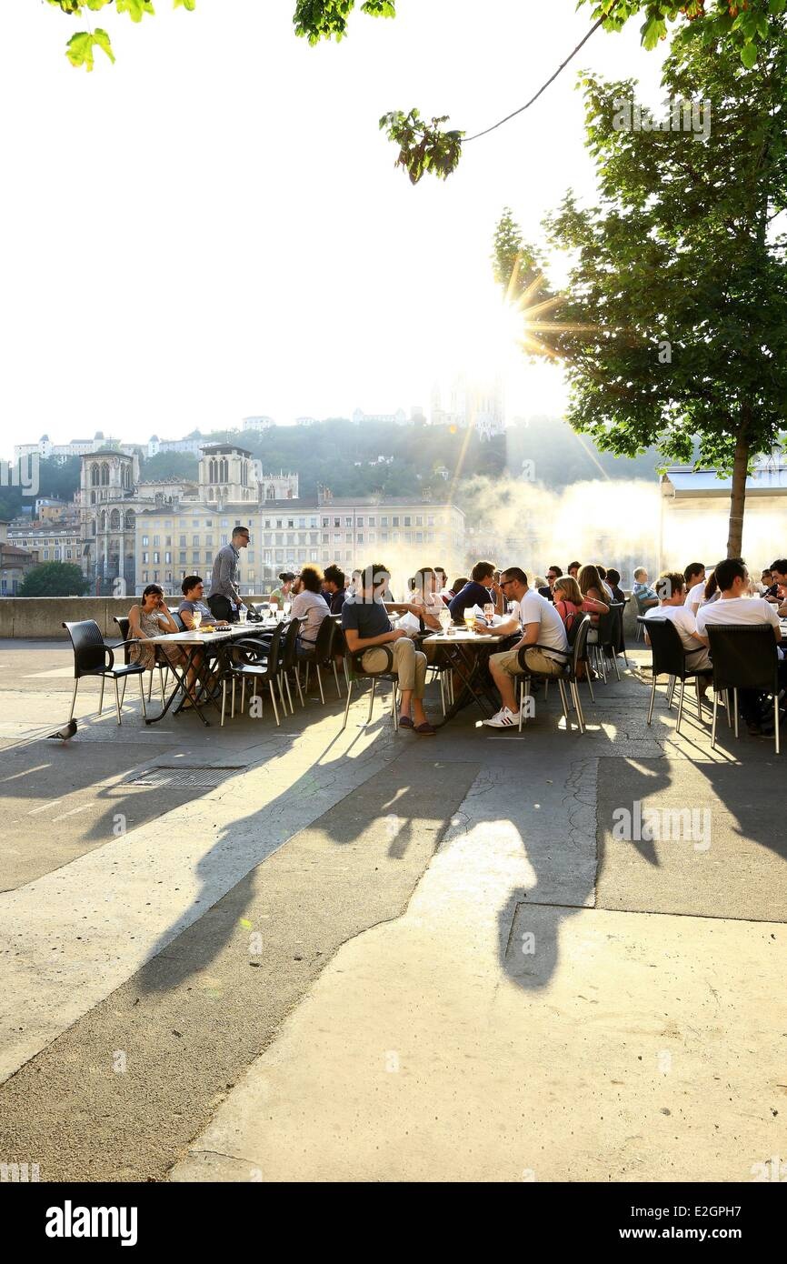 France Rhone Lyon historical site listed as World Heritage by UNESCO Cordeliers district Celestine quay - Stock Image