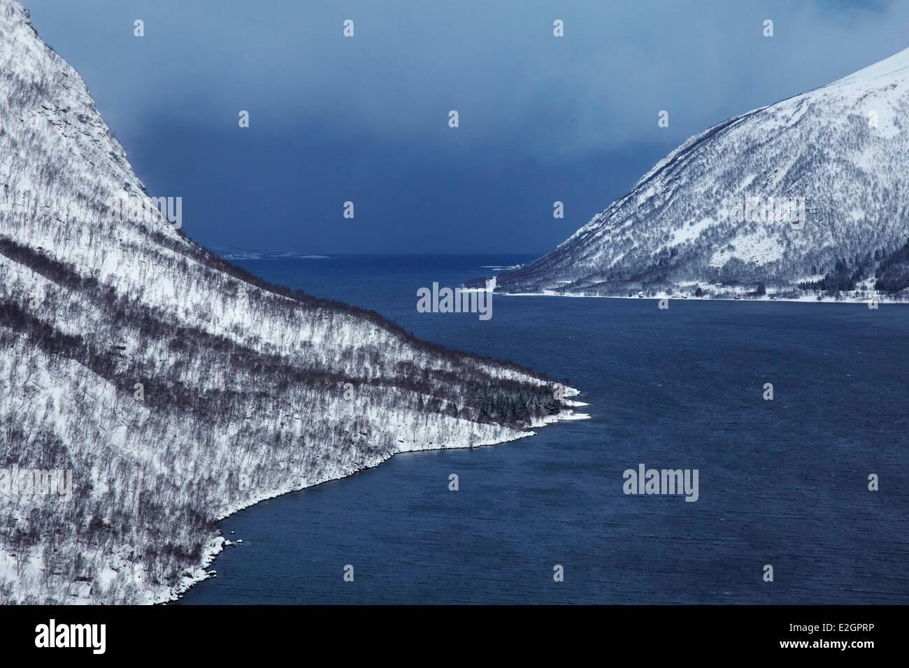 Norway Troms Senja island Skaland fjord in winter Stock Photo