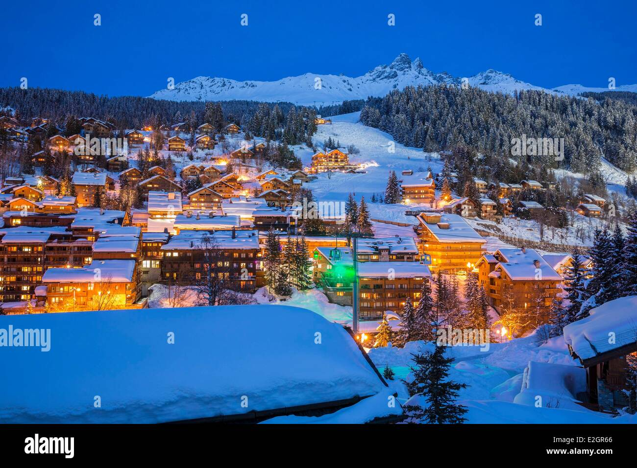 France Savoie Tarentaise valley Meribel les Allues view on Dent de Burgin or Croix de Verdon (2739m) Meribel is - Stock Image