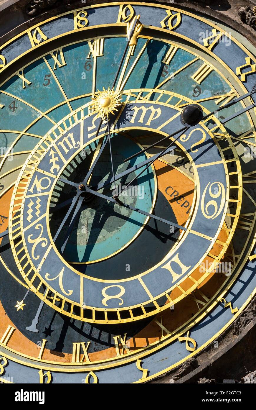 Czech Republic Prague historical centre listed as World Heritage by UNESCO Astronomical clock - Stock Image