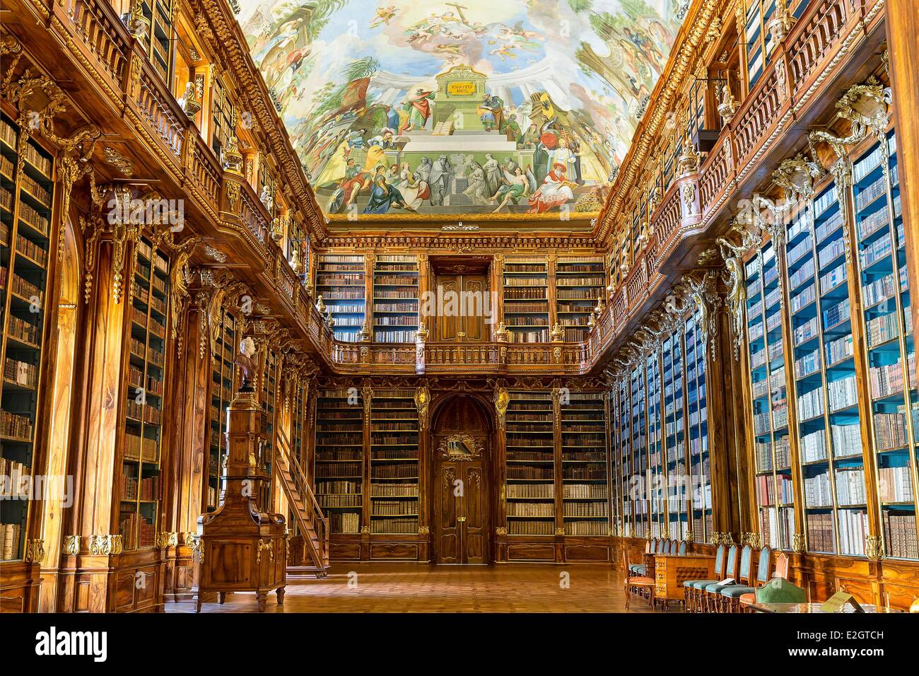 Czech Republic Prague historical centre listed as World Heritage by UNESCO interior of Library in Strahov Monastery, - Stock Image