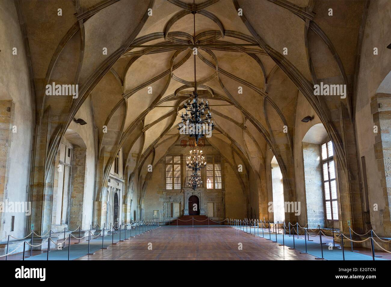 Czech Republic Prague historical centre listed as World Heritage by UNESCO Gothic ceiling Vladislav Hall (15th century) Stock Photo