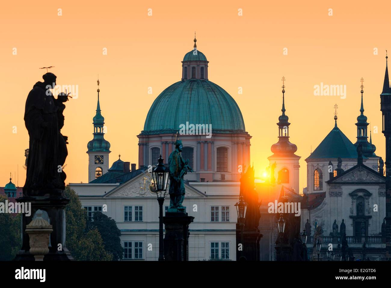 Czech Republic Prague historical centre listed as World Heritage by UNESCO Charles Bridge and spires of Old Town - Stock Image