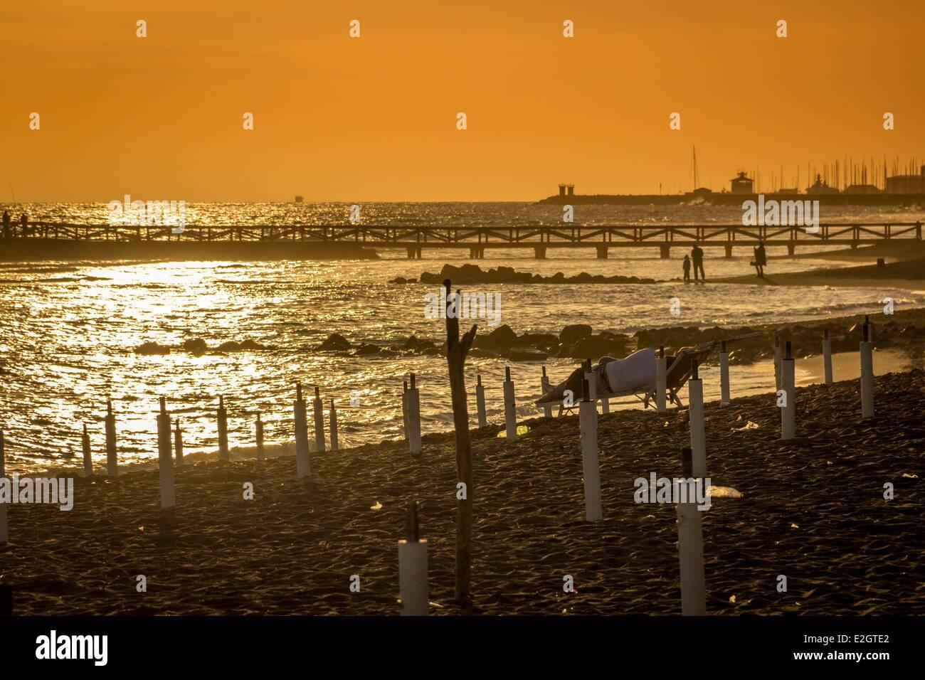 Italy Lazio Lido di Ostia Ponente beach of town of Ostia - Stock Image