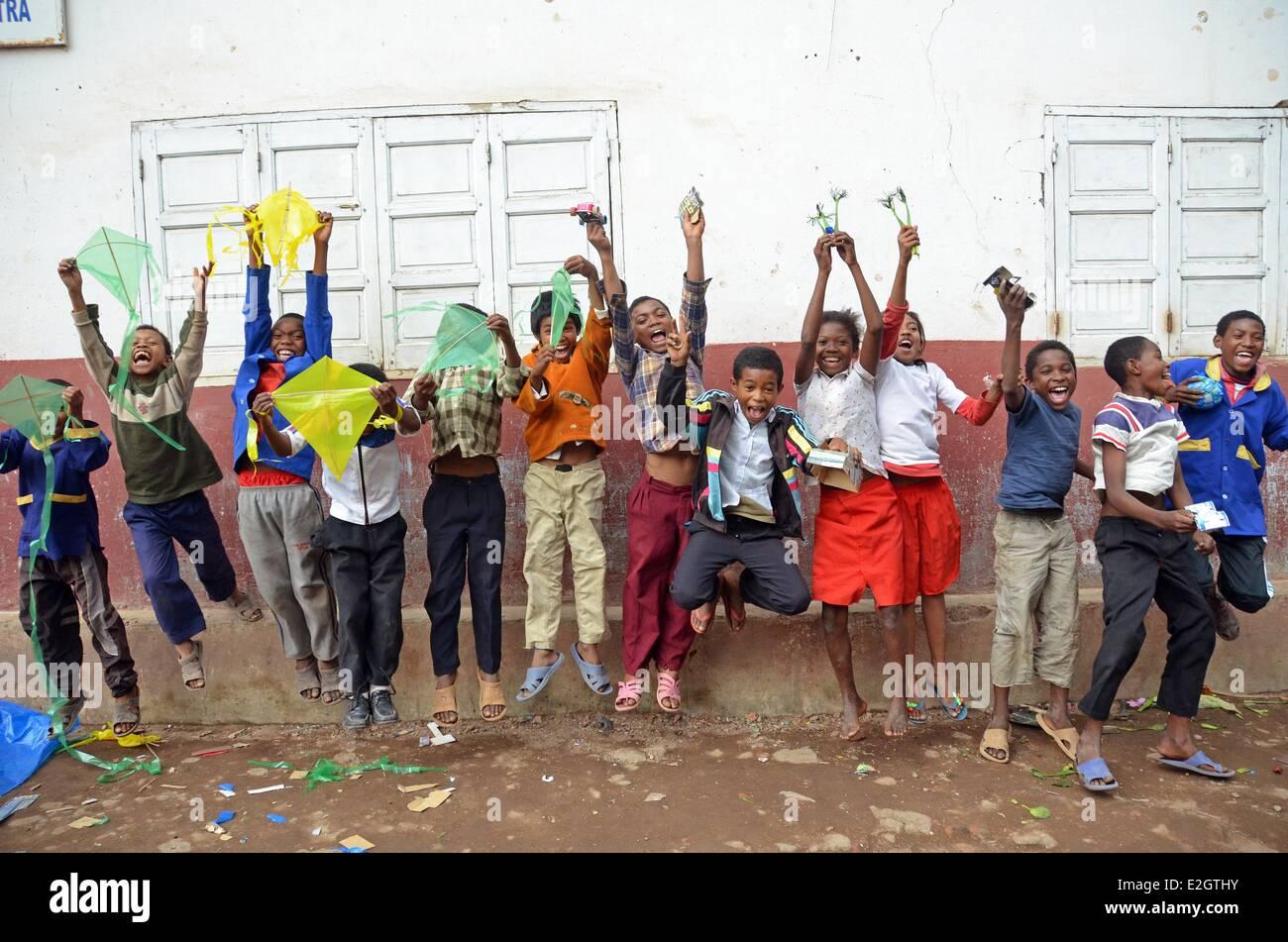 Madagascar Antananarivo schoolchildren jumping in air - Stock Image