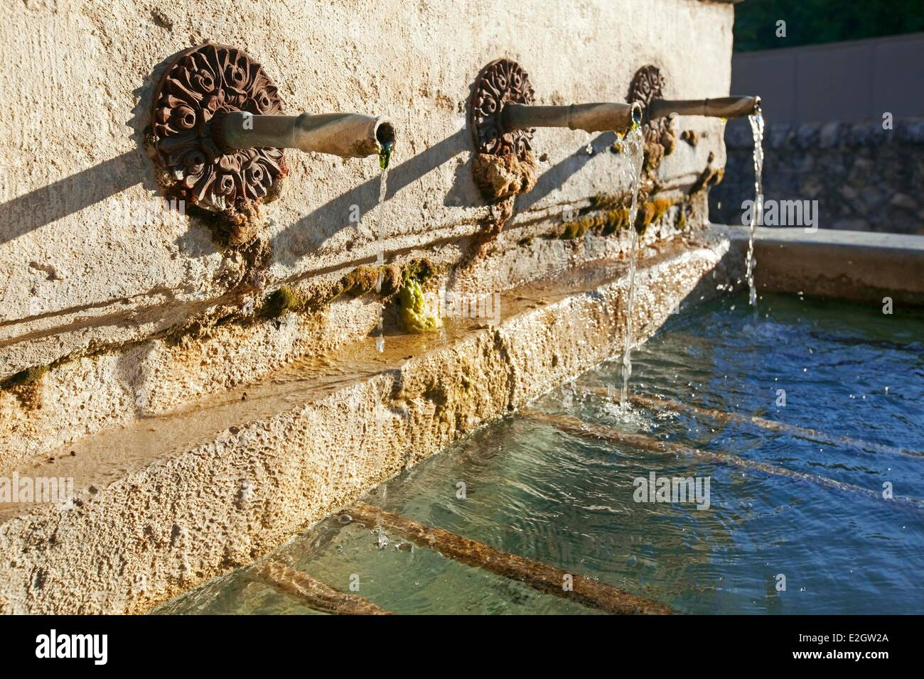 France Vaucluse Sablet rue Fortune Bernard fountain with three outputs - Stock Image