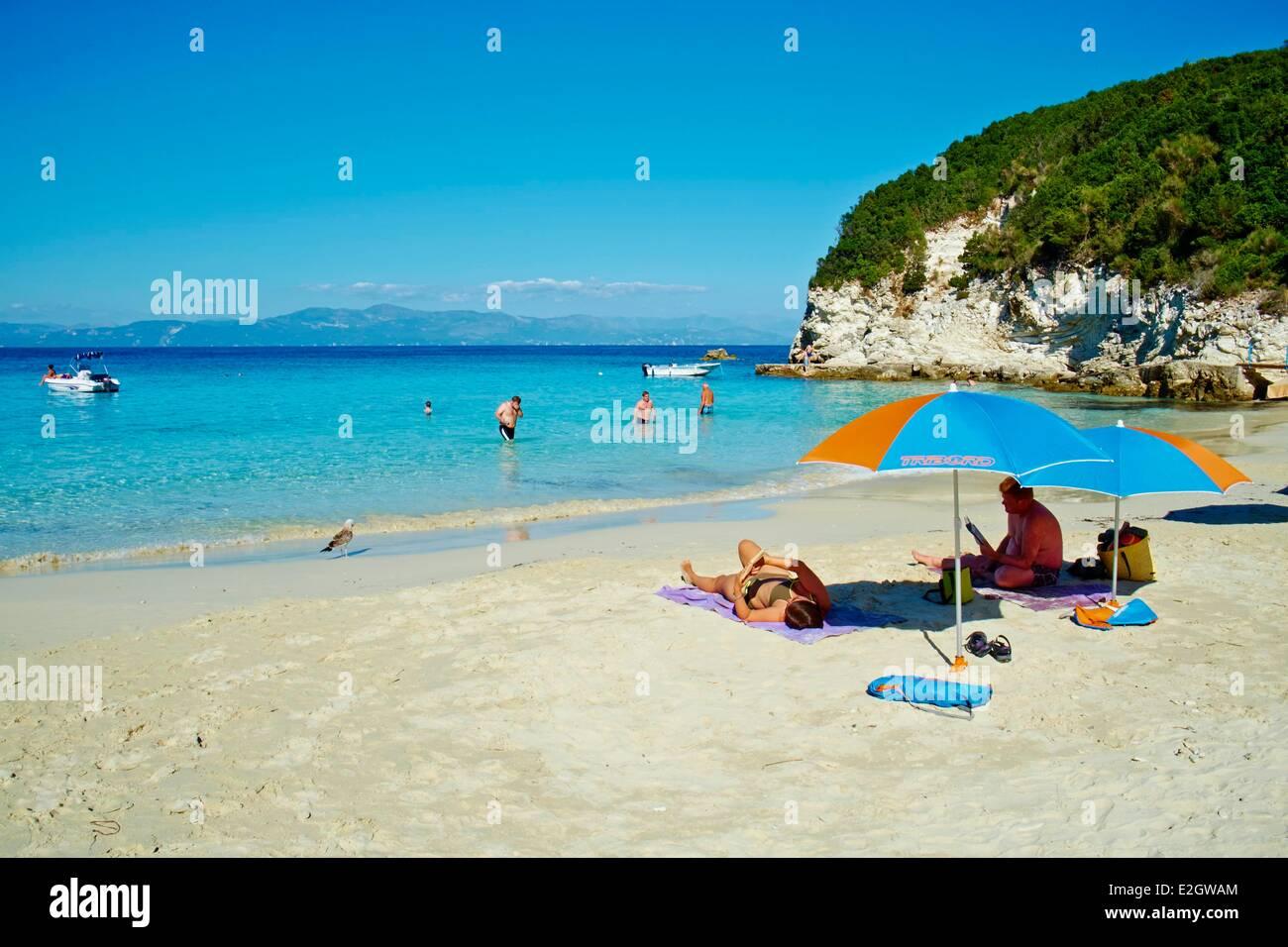 Greece Ionian island Antipaxi Antipaxos Vrika beach - Stock Image