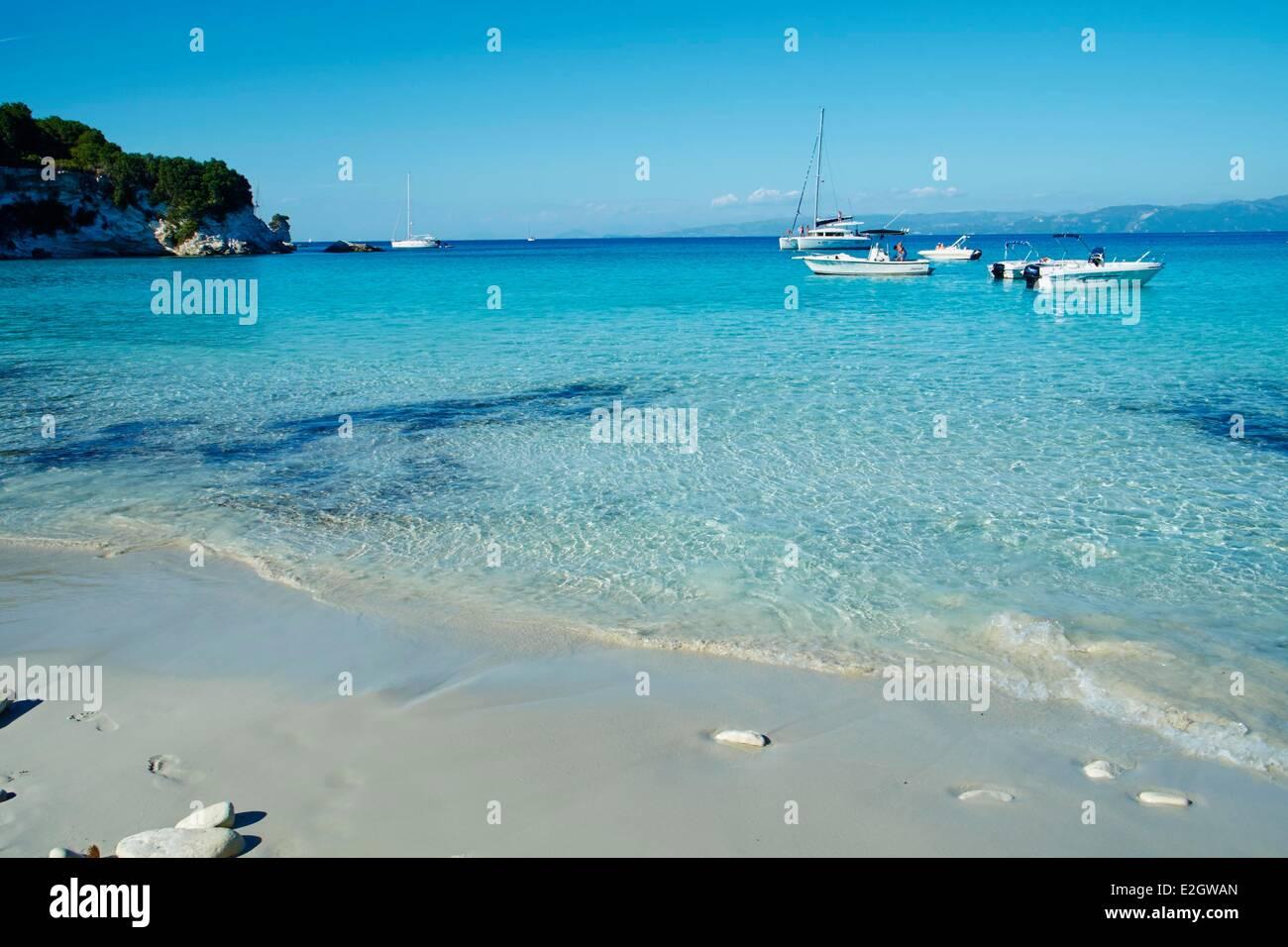 Greece Ionian island Antipaxi Antipaxos Voutoumi beach - Stock Image