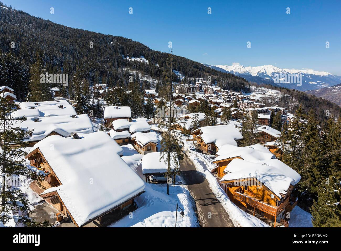 France Savoie La Tania is one of biggest stations of ski-village of France at heart of biggest ski slopes of world - Stock Image