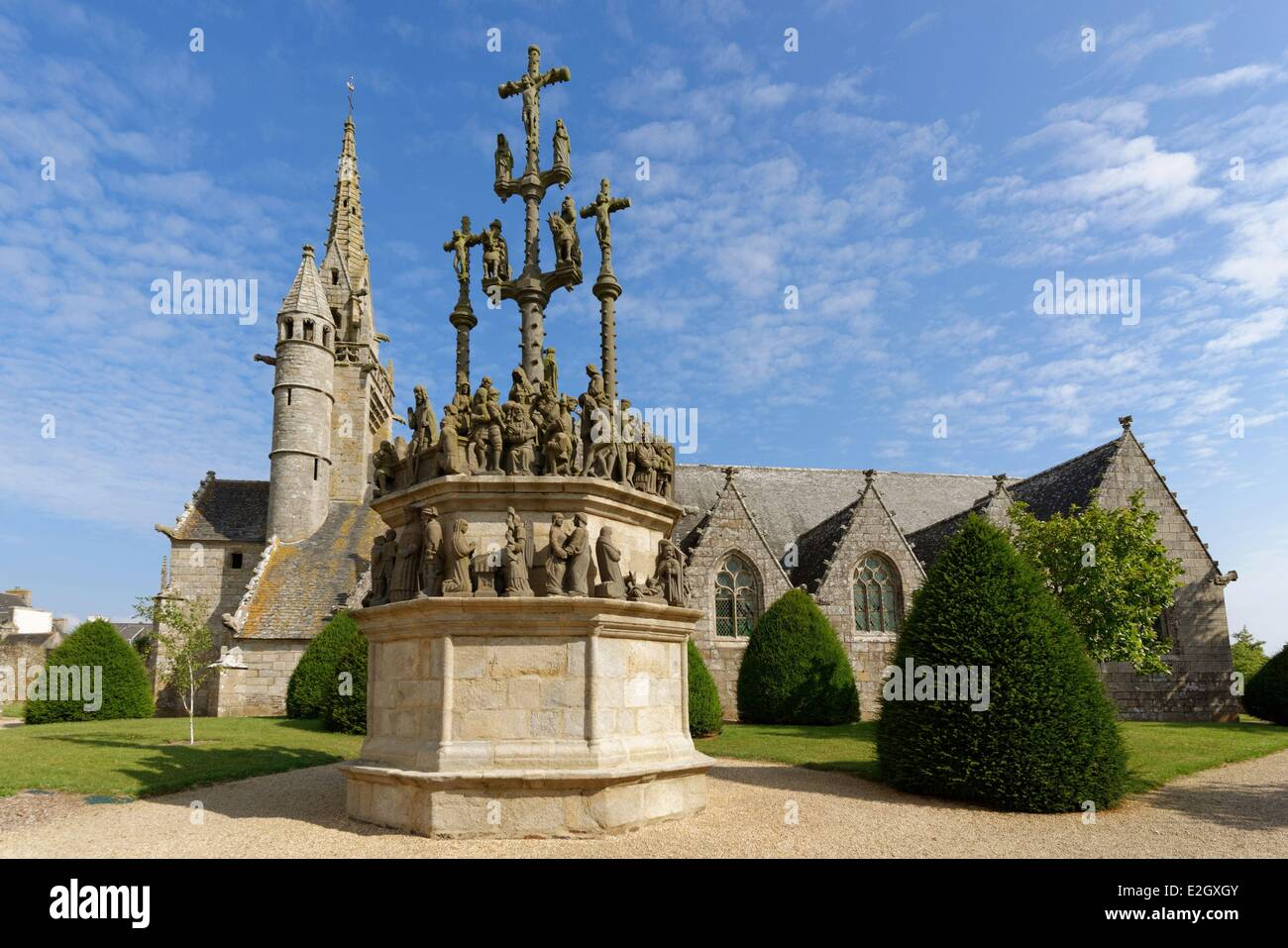 France Finistere stop on Way of St James Plougonven parish enclosure church and calvary - Stock Image