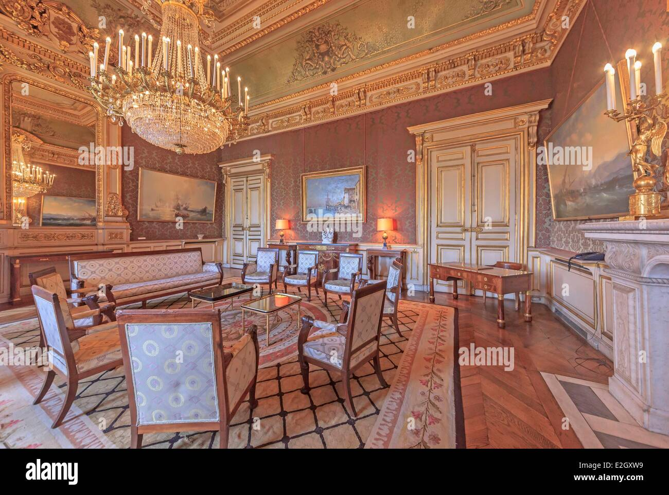 France Paris Quai d'Orsay hotel of Foreign Ministry empire room Stock Photo